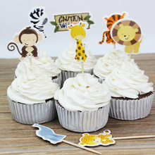 72pcs Cartoon Wildlife Park Animals Zoo Cupcake Toppers pick Kids Birthday Party cake Decoration Lion Tiger Zebra Monkey Giraffe