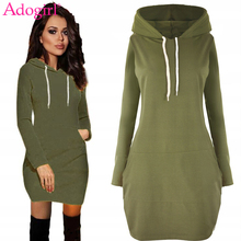 Adogirl Long Hooded Sweatshirt Dress 2019 Autumn Winter Women Fashion Pockets Long Sleeve Casual Mini Dress Pullovers Clothing hooded long sleeve dress