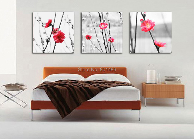 Direct factory price ! 3 piece plum flower in snow picture modern ...