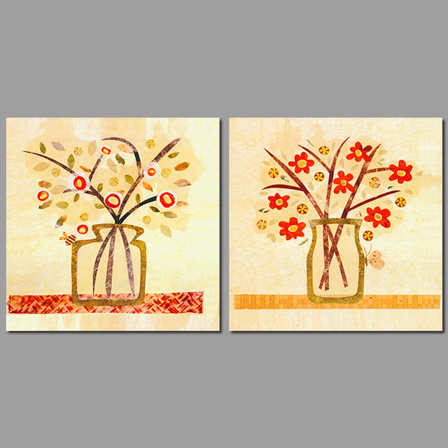 2pcsset Modern Fashion Small Red Flowers Vases Decoration Wall Art