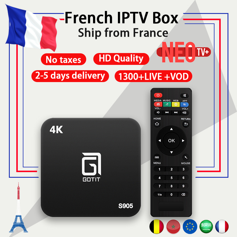 Francese IPTV Box Android TV BOX 7.1 + abbonamento IPTV 1 Anno Francia Arabo Belgio NEO codice 1300 + In Diretta VOD m3u 4 k HD smart tv box