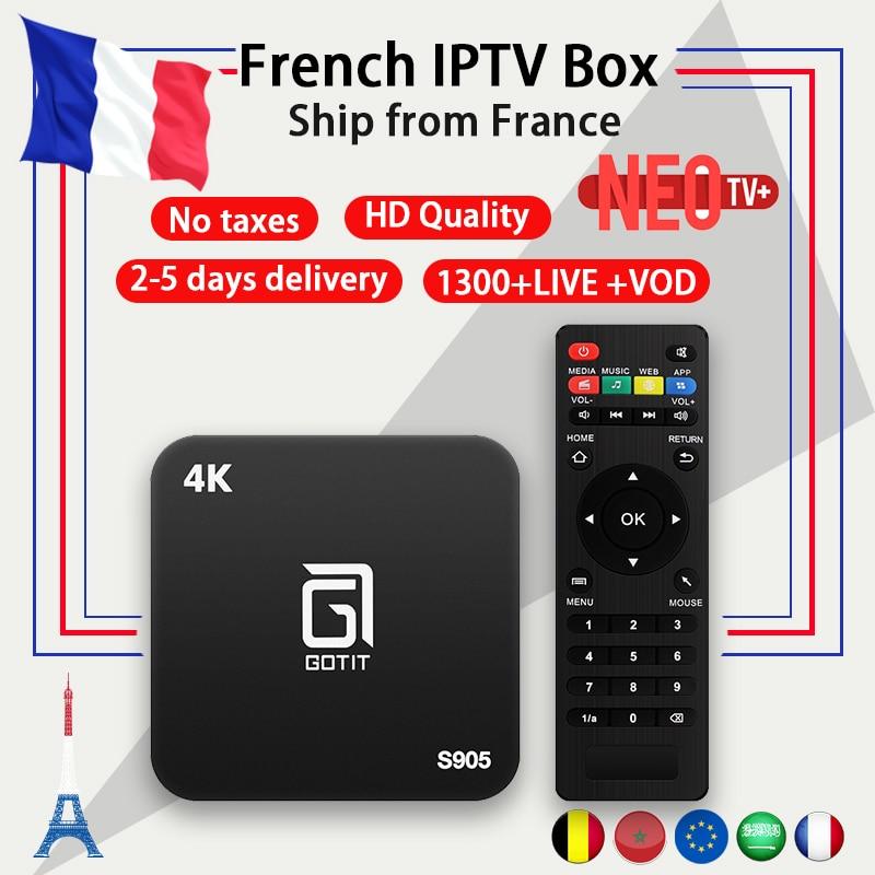 Französisch IPTV Box Android TV BOX 7,1 + IPTV abonnement 1 Jahr Frankreich Arabisch Belgien NEO code 1300 + Live VOD m3u 4 karat HD smart tv box