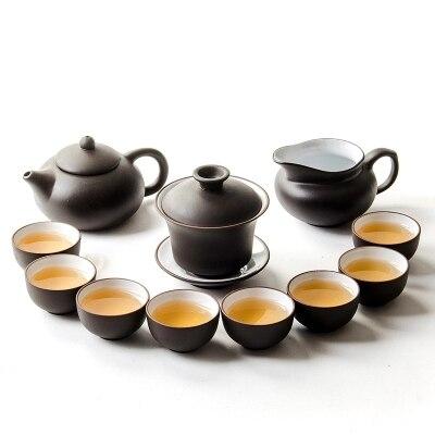 Sable violet Kung Fu thé ensemble théière couverture bol noir blanc foire tasse tasses ensemble complet ménage thé cérémonie accessoires