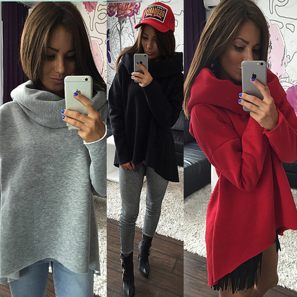 Scarf Collar Solid Hoodies Women Loose Long Sleeve Plus Size Sweatshirts Casual Design Autumn Red Cool 2017 Female Pullovers 40J