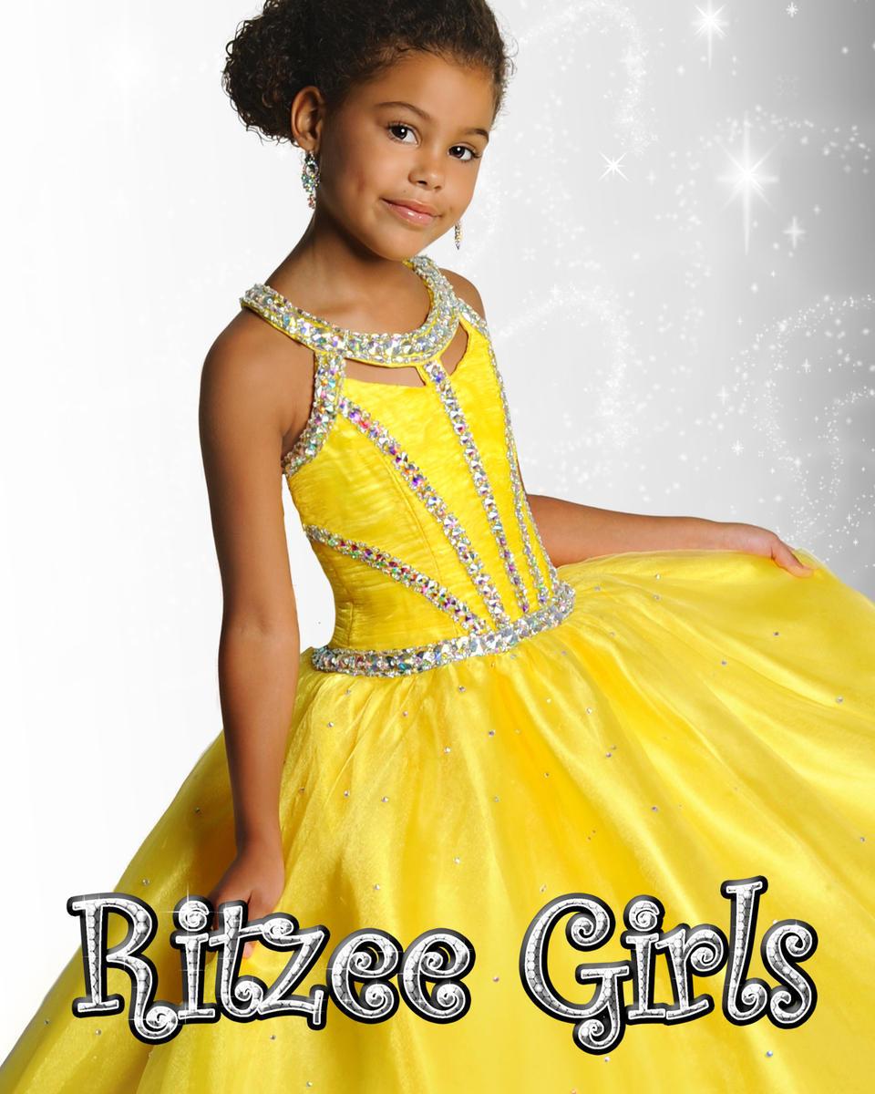 Top Popular Beading Little Girls Pageant Dresses Yellow Fuchsia Blue