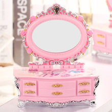Hot Selling Creative Music Box Makeup Box with Drawer Dancing Princess Jewelry