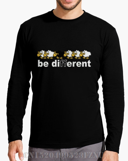 2017 Autumn and Winter Favourite Long Sleeve t shirt men Boy Be Different Character Long Sleeves Knitted kpop mens Hipster Tees