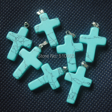 50 Pieces/Lot,Blue Turquoisee Stone Pendant,Size: 18x25mm,Cross Shape