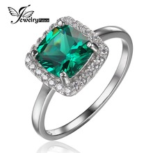 JewelryPalace Cushion 2.3ct Created Nano Russian Emerald Engagement Halo Ring Stable 925 Sterling Silver Rings for Girls Style