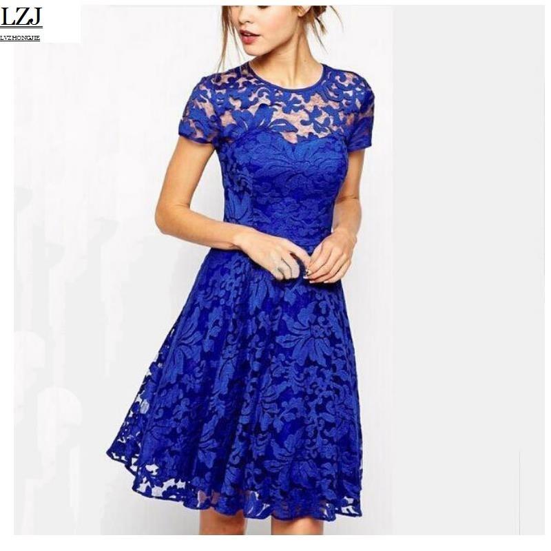 LZJ 2017 new lace party dress women summer elegant short-sleeved flower eyelashes lace round neck Bodycon office dress size 5XL
