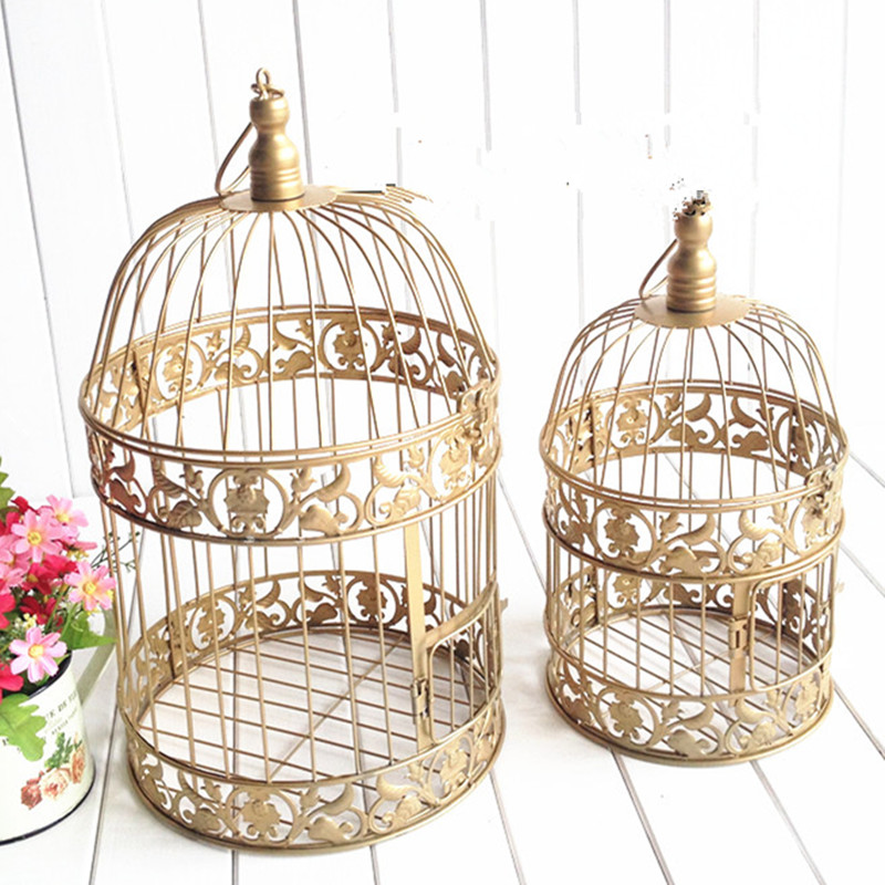 European Gold Vintage Birds Cage Fashion Cinnamon Iron Birdcage Wedding Decoration Props In Bird Cages Nests From Home Garden On