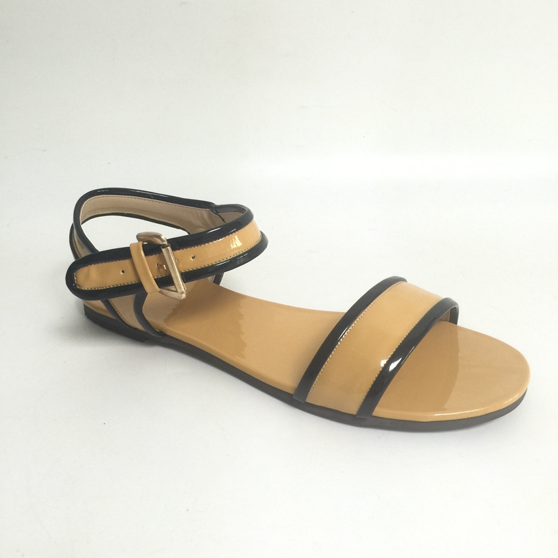 Light Brown Flat Heel Women Sandals Ankle Straps Open Toe Summer Shoes Ladies New Zapatillas De Mujer Custom Colors 2017