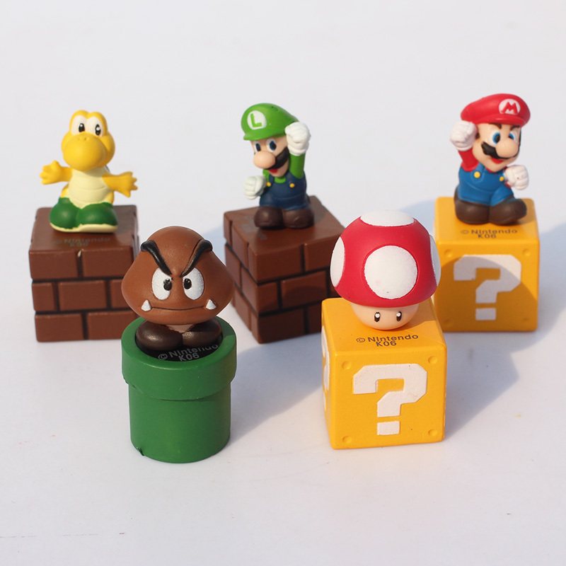 5Pcs/Set Super Mario Wall Bros Luigi Mushroom Goomba Yoshi Mario PVC Figures Toys 5cm Approx Packaged in Bag