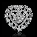 Fashion full of  crystal brooch pins silver heart brooches for women vintage and romantic brooch