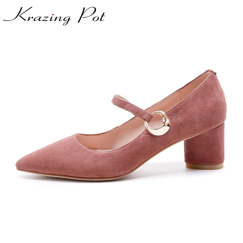 krazing Pot shallow sheep suede metal buckle thick high heels pointed toe pumps princess style solid office lady work shoes L05  krazing pot new fashion brand shoes square toe shallow women pumps metal strange high heels slip on causal office lady shoe 02