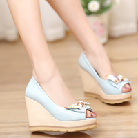 Big Size 34 41 Women Pumps High Heeled Wedge Shoes Solid Party Wedding Prom Shoes Peep