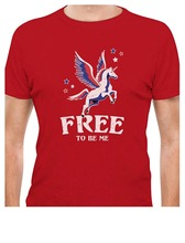 ФОТО 2018 newest letter print graphic crew neck short sleeve 4th of july free magical flying unicorn  mens tees