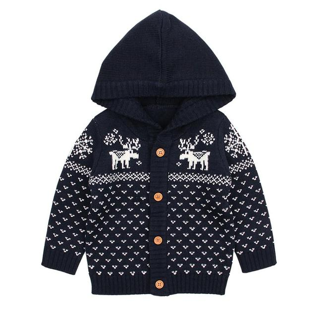 Kidlove Babygirl Boy Knitting Sweaters Hooded Christmas Tree Sweater Tops Hooded 0-24months Baby Button Warm Tops San0