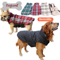 2015 Waterproof Reversible Dog Jacket Designer Warm Plaid Winter Dog Coats Pet Clothes Elastic Small To