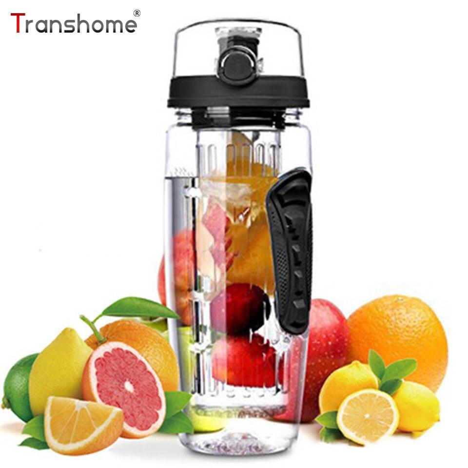 Transhome Tritan Plastic BPA Free Water Bottle 32OZ/900ML Fruit  Infuser Large Capacity Unbreakable Leak-proof Bottles For Water