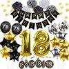 الذهب الأسود عيد ميلاد الديكور بالونات عيد ميلاد سعيد راية بهرج جارلاند النثار للبالغين 18 حفلة عيد ميلاد الديكور