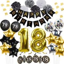 Decoración de cumpleaños de oro negro globos Feliz cumpleaños Banner guirnalda de oropel confeti para Adultos 18 cumpleaños fiesta Decoración