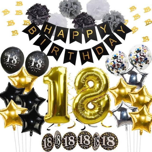 Schwarz Gold Geburtstag Dekoration Ballons Geburtstag Banner Lametta Girlande Konfetti für Erwachsene 18 Geburtstag Party Dekoration