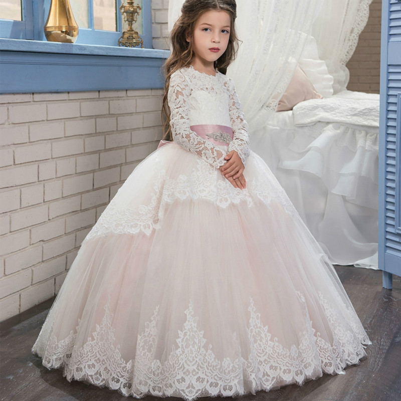 princess dress Pink Lace Flower Girls Dresses With Belt Bow Floor Length Girls First Communion Dress Princess prom Girl Dress носки детские гранд цвет серый 2 пары tcl8 размер 22 24