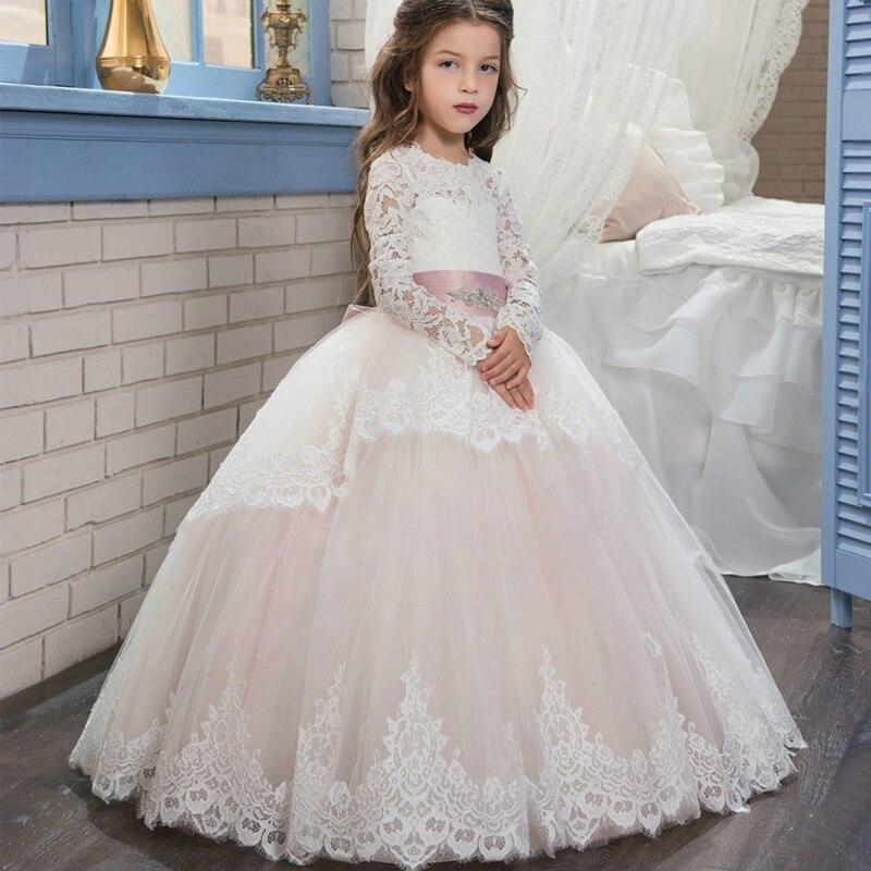 princess dress Pink Lace Flower Girls Dresses With Belt Bow Floor Length Girls First Communion Dress Princess prom Girl Dress