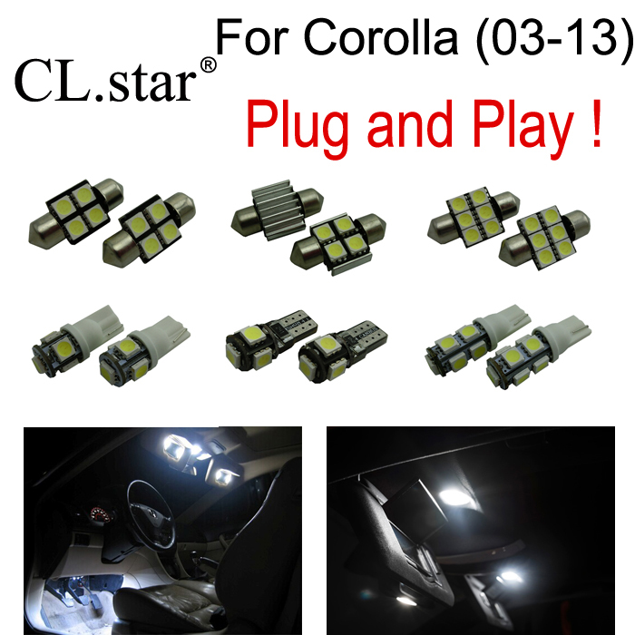 7pc X Free shipping Xenon white for Toyota for Corolla LED bulb interior light kit package ( 2003-2013) 12v 55w bulb car fog light lamp for 2003 toyota corolla ip67 free shipping