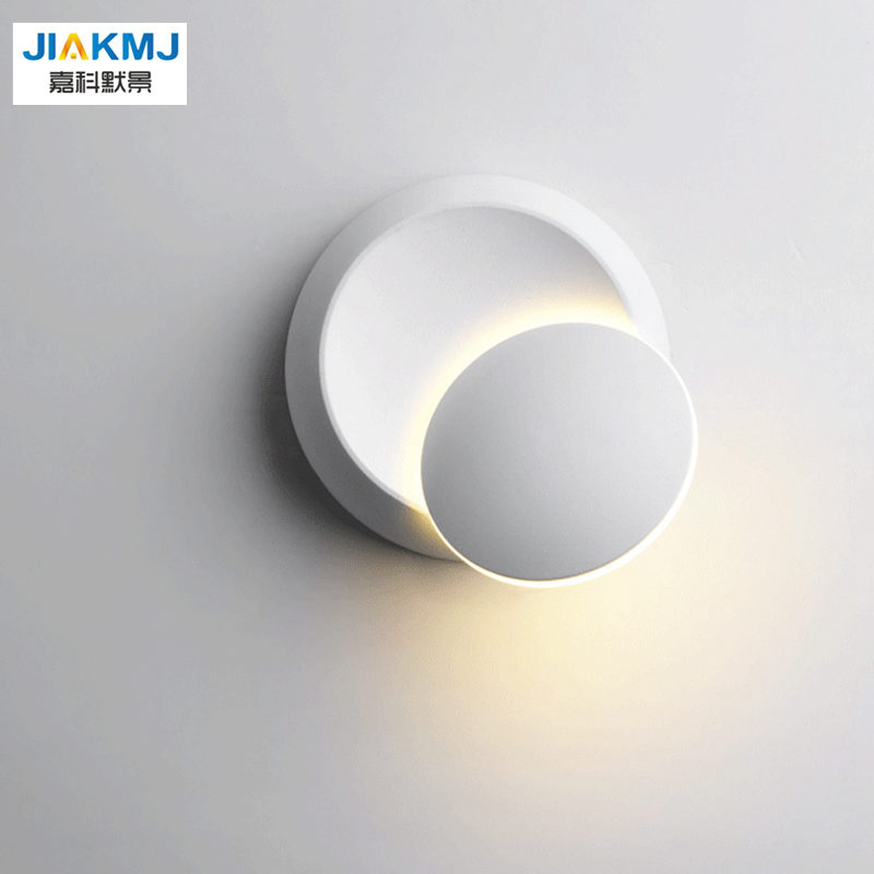 Modern Led Wall Lamp 360 Degree Rotation Adjustable Bedside Light Black/white Creative Wall Lamp Aisle Round Lamp Home Decor Lights & Lighting
