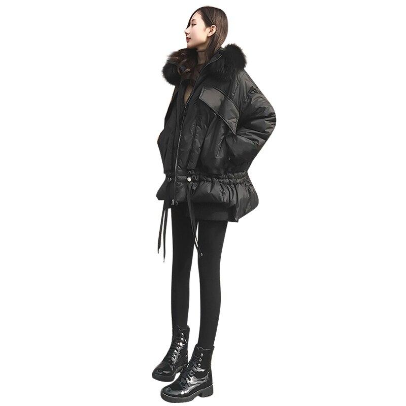 Womens down cotton jacket winter European station 2018 winter new down cotton female black fur collar long paragraph loose coat