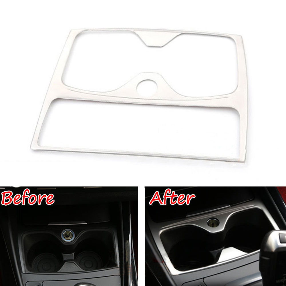 BBQ@FUKA Seat Water Cup Holder Cover Decoration Frame Trim Stainless Steel Car-styling Sticker Fit For <font><b>BMW</b></font> 1 series 16i <font><b>118i</b></font> <font><b>F20</b></font> image