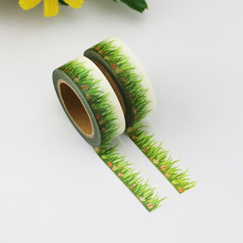 2PCS/lot Hopeful Spring Green Grass Decorative Washi Tape Paper For DIY Scrapbooking Adhesive Tapes 15mmx10m School Supply