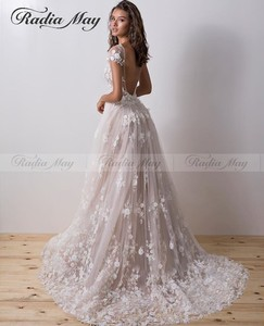 Image 2 - Sexy Backless Lace Mermaid Wedding Dress with Sleeves Boat Neck 3D Flower Wedding Dresses Detachable Train Appliques Bridal Gown