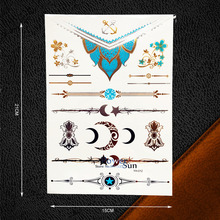 Sexy Products Flash Temporary Tattoo Gold Moon Star Necklace Design Women Body Art Jewel Decal Waterproof Tattoo Stickers PYH012