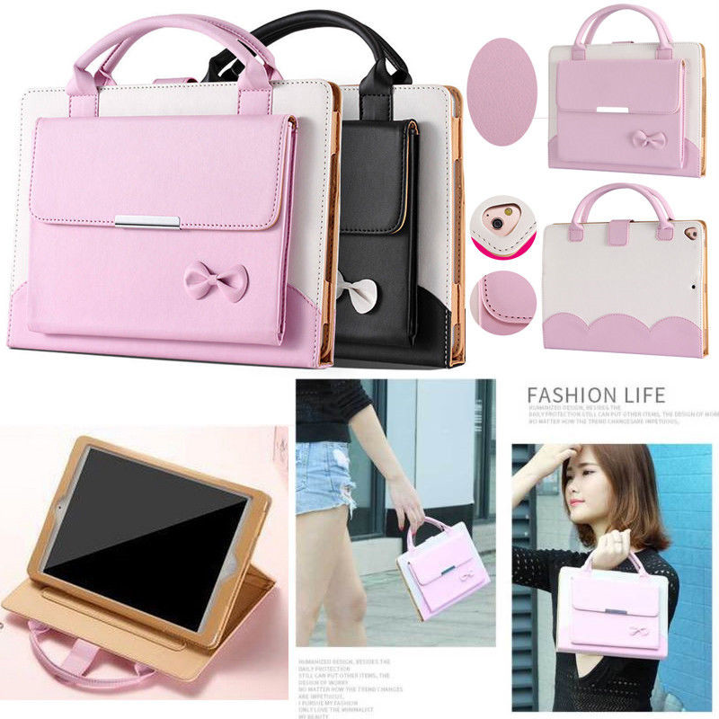 Luxury Ladies Handbag Leather Case for iPad 9.7 inch Bow Fashion Girl Wallet Stand Smart Cover Bags for Apple iPad 234 air air2 bow faux leather smart case stand cover for ipad air ipad 5 5dsa65