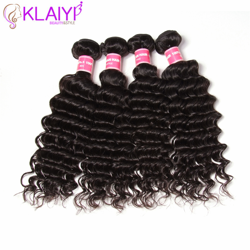 KLAIYI Deep Wave Peruvian Hair Weave Bundles Remy Hair Weaving Human Hair Extension Natural Black 100G