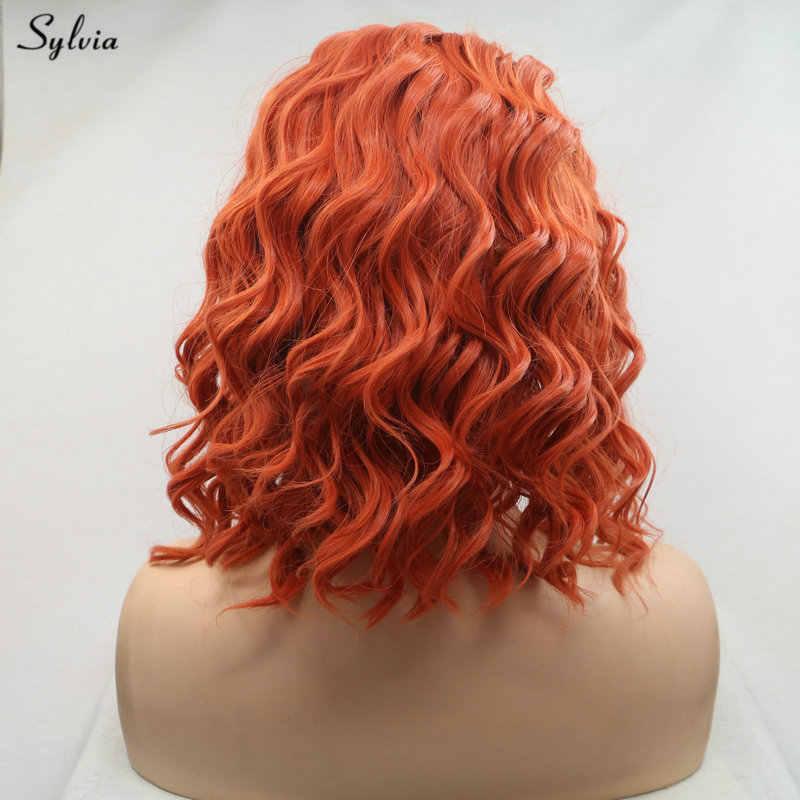 Sylvia Orange/Pastell Lila Perücke Kurze Lockige Perücke Seite Teil Synthetische Spitze Front Perücken Für Frauen Hitze Beständig Kurze bob Haar Perücken