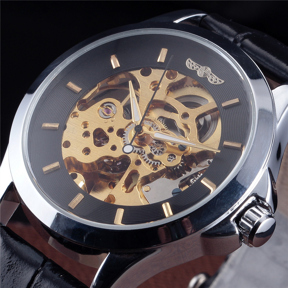 WINNER Brand Gold Skeleton Mechanical Watch Men Leather Strap Clock Male Fashion Luxury Automatic Self Wind Wrist Watch Relogio forsining gold hollow automatic mechanical watches men luxury brand leather strap casual vintage skeleton watch clock relogio