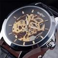WINNER Brand Gold Skeleton Mechanical Watch Men Leather Strap Clock Male Fashion Luxury Automatic Self Wind Wrist Watch Relogio