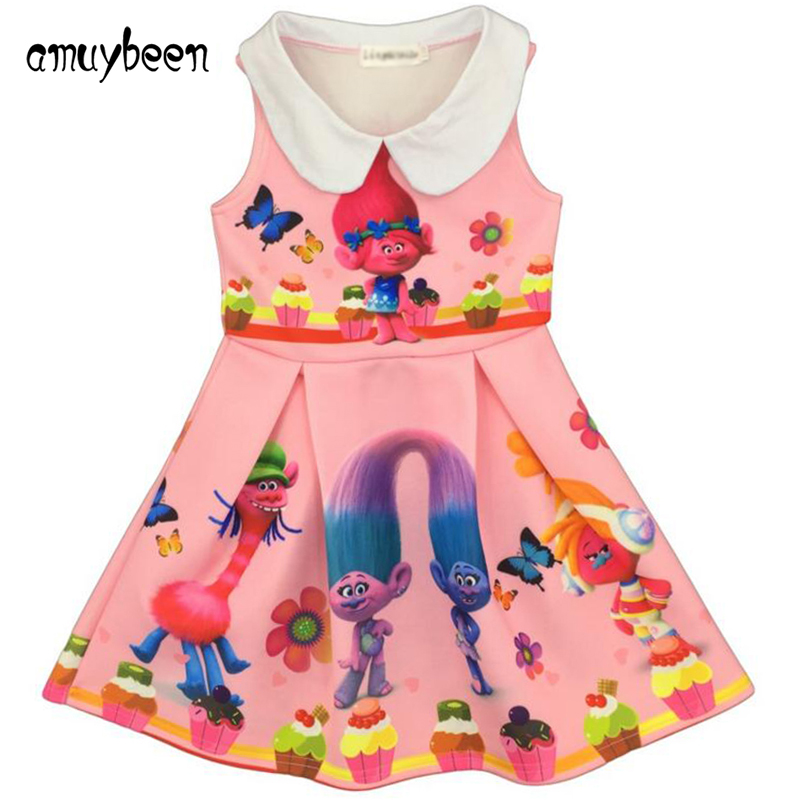 Amuybeen 2017 Hot Summer Style Girl Dress Trolls Printed Kids Girls Clothes Princess for Party Dresses Children Clothing Vestido зубная паста mon platin зубная паста минерал дент