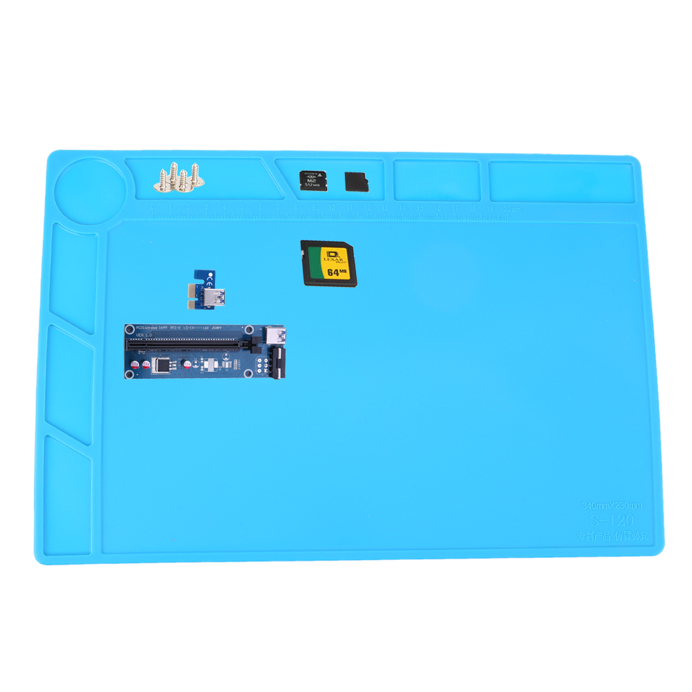 Heat Insulation Silicone Pad Desk Mat Maintenance Platform For BGA Soldering Repair Station With Magnetic Section 34 X 23 cm