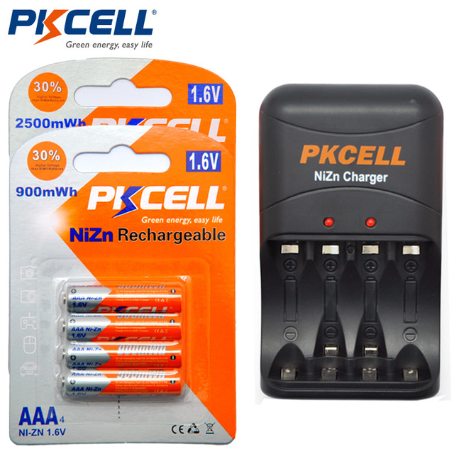 4Pcs 1.6V AA  Rechargeable Batteries 2500mWh+4Pcs AAA 900mWh Ni-ZN Rechargeable Battery + 1Pcs 8186 Ni-Zn AA/AAA Battery Charger
