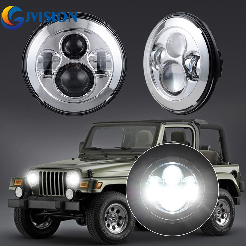 2PCS 7'' Round Auto led Projector headlight for Jeep Wrangler TJ JK LJ AM General Hummer Hi/Lo beam H4 LED Headlamp Bulbs 2pcs new design 7inch 78w hi lo beam headlamp 7 led headlight for wrangler round 78w led headlights with drl