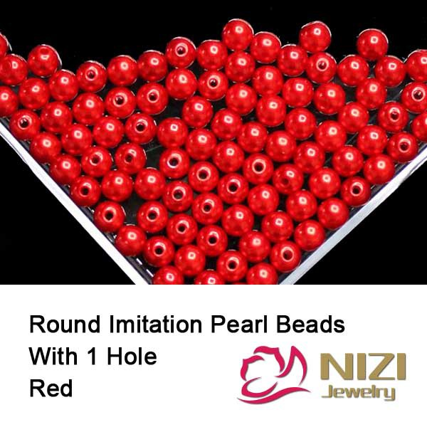 Red Imitation Pearl Beads For Jewelry Making 6mm 8mm 10mm Round Straight Hole Pearl Beads Resin Imitation Pearl Beads 100g/bag new resin pearl beads 6mm 8mm 10mm resin round dark coffee imitation pearl beads with hole 100g bag perfect for diy decoration