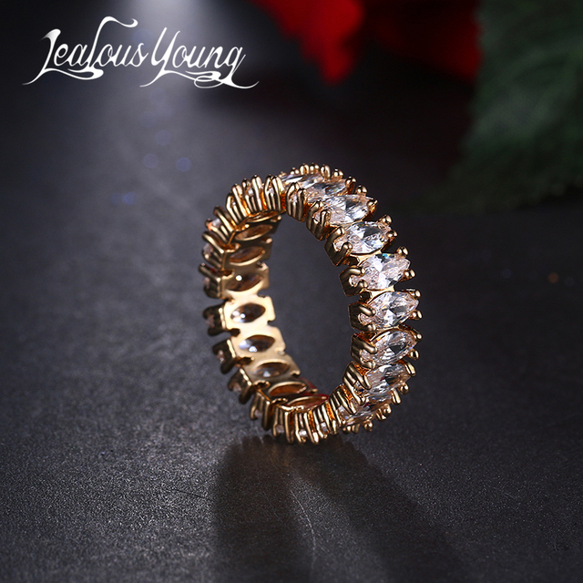 Fashion 6 Color Cubic Zirconia Engagement Ring for Women Gold Color Ring Luxury