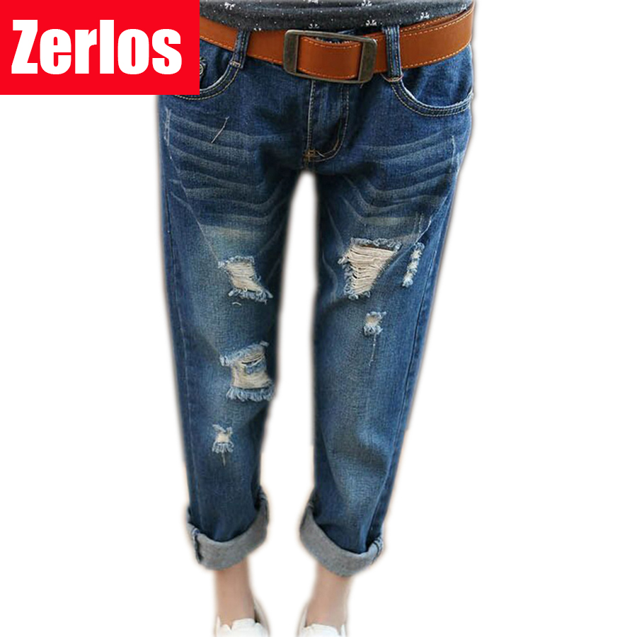 2016 spring and summer hole jeans women female loose denim pants  female Harlan Nine pants plus size s-5XL