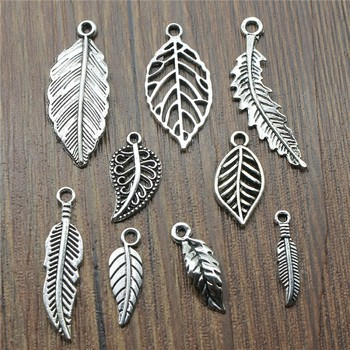 30pcs/lot Charms Leaf Antique Silver Color Jewelry Findings DIY Tree Wholesale