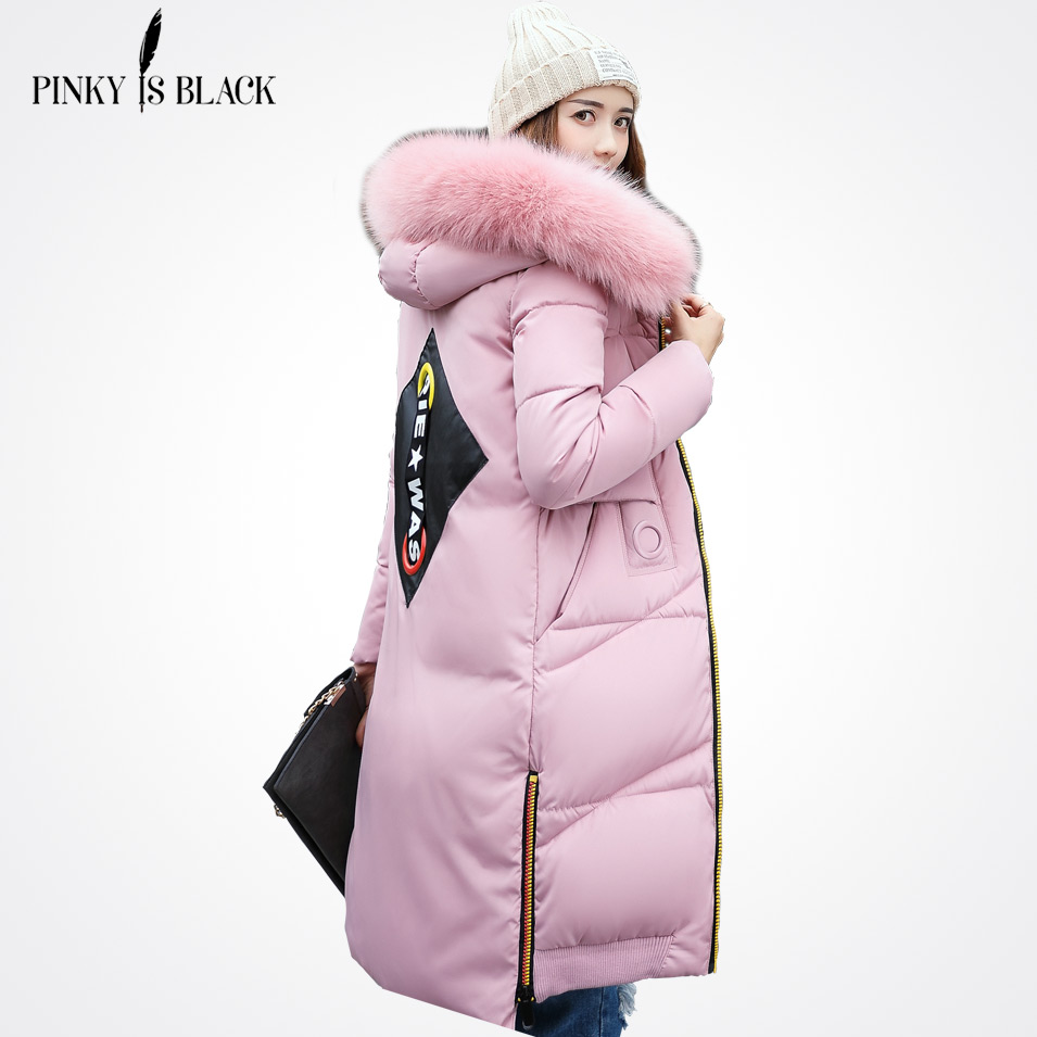 Pinky Is Black 2017 New Winter Jacket Women Colorful Zipper Alphabet Fashion Large Fur Collar Female Winte Jacket For Women Coat